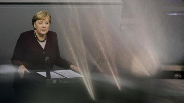 Merkel said with several promising vaccines nearing approval, possibly before Christmas, people had reason for optimism.(AP Photo)