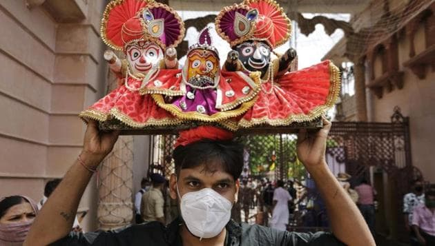 Nagarjuna Besha is observed every 26 years in Puri. The besha was last observed in 1994, when six devotees were killed in the ensuing stampede.(AP PHOTO.)