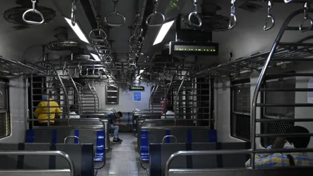 Amid a continued surge of Covid-19 cases in Maharashtra, the Railways reiterated that children will not be allowed on local trains and only women will be allowed to board these.(ANI)