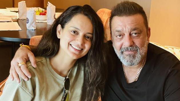Kangana Ranaut met Sanjay Dutt in Hyderabad.