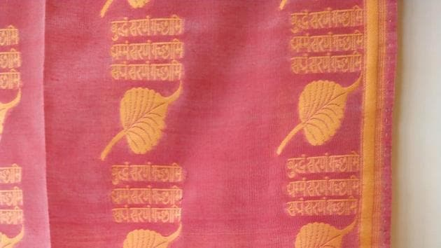 The special wover cloth for PM Modi also bears a leaf of the 'Bodhivriksha'.(HT Photo)