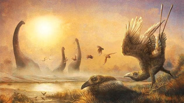An illustration depicting the bird Falcatakely forsterae amidst non-avian dinosaurs.(REUTERS)