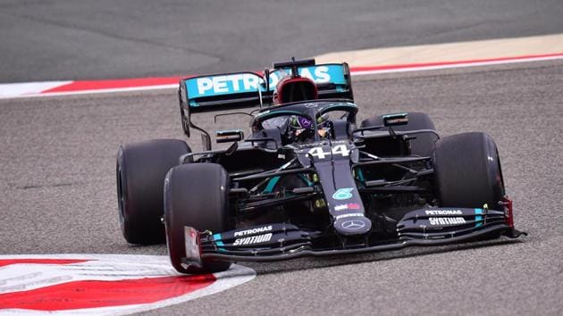 Mercedes' Lewis Hamilton in action during practice.(Pool via REUTERS)