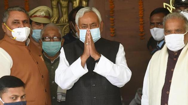 Chief minister Nitish Kumar arrives to attend a joint session of the Bihar Assembly in Patna on Thursday. (Santosh Kumar/HT Photo)
