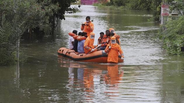 Over 1,100 trees were uprooted, besides the loss of cattle and damage to huts, authorities said. People waded through neck- deep in some places where first responders used inflated boats to rescue families to safer locations.(PTI)