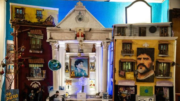 The shrine a the Nilo coffee bar in Naples.(Getty Images)