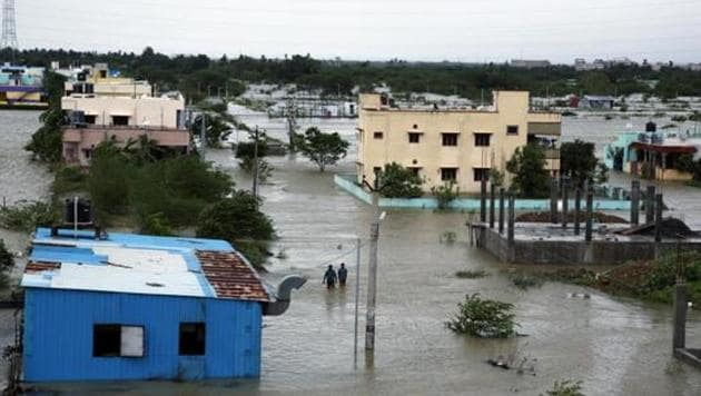Floodwater enters the residential areas after heavy rains after the landfall of Cyclone Nivar in Chennai on Thursday. (ANI Photo)(ANI)
