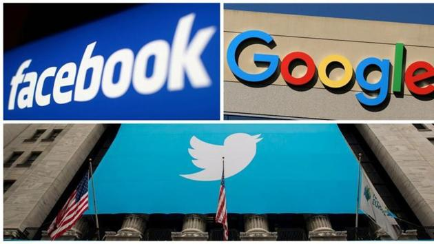 Facebook, Google and Twitter logos are seen in this combination photo.(Reuters file)