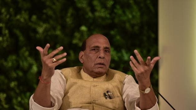 "Defence minister Rajnath Singh on Thursday said a set of laws enacted recently to liberalise the farm sector would ""greatly benefit"" the farming community and he was ready to discuss all outstanding issues(Virendra Singh Gosain/HT PHOTO)"