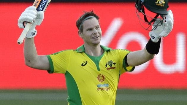 Sydney: Australia's Steve Smith celebrates after scoring a century during the one day international cricket match between India and Australia at the Sydney Cricket Ground in Sydney, Australia.(AP)