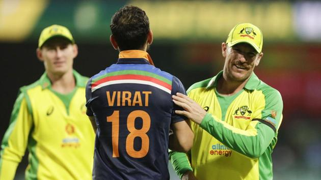 Sydney: India's Virat Kohli congratulates Australia's Aaron Finch, right, after the one day international cricket match between India and Australia at the Sydney Cricket Ground in Sydney, Australia, Friday, Nov. 27, 2020.Australia defeated India by 66 runs. AP/PTI(AP27-11-2020_000174A) (AP)