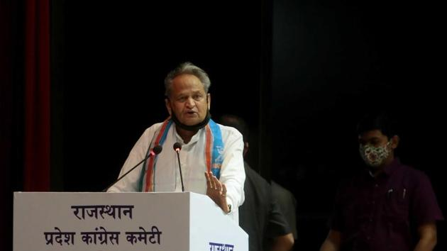"""Rajasthan CM Ashok Gehlot accused the BJP of trying to destabilise his government by resorting to """"negative politics"""" by speculating on its fall and stoking fears about coronavirus pandemic. (Photo by Himanshu Vyas/ Hindustan Times)"""