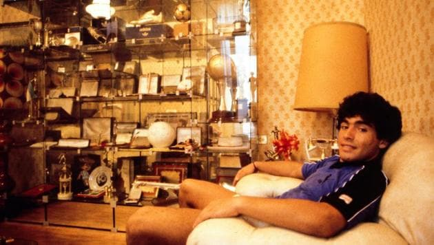 A young Maradona during a photoshoot at his home in Buenos Aires, Argentina, in 1980.(Icon Sport via Getty Images)