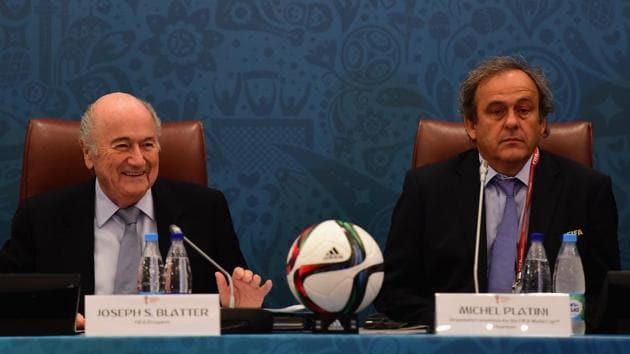 Joseph S. Blatter and Michel Platini look on during the Team Seminar ahead of the Preliminary Draw of the 2018 FIFA World Cup at the Corinthia Hotel.(Getty Images)