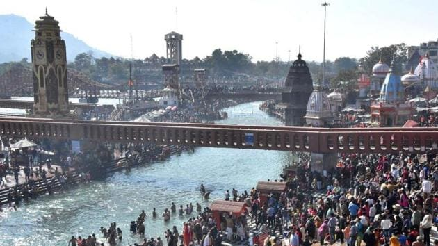 Renovation being done at Har-Ki-Pauri ahead of Mahakumbh in Haridwar.(HT File)