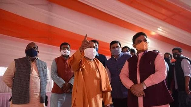 Uttar Pradesh Chief minister Yogi Adityanath inspecting the arrangements for the public meeting which will be held in Varanasi, Uttar Pradesh.(Photo by Rajesh Kumar/ Hindustan Times)