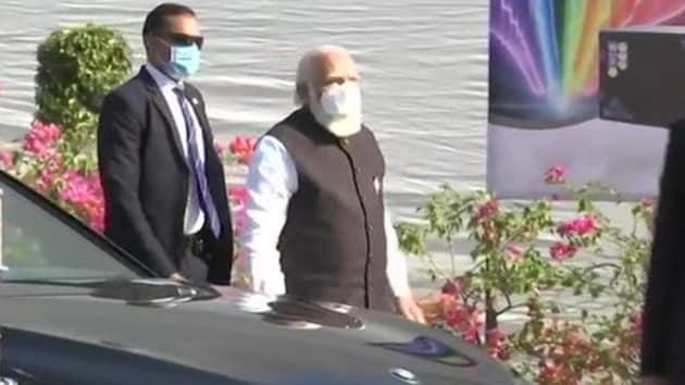 Prime Minister Narendra Modi arrives at Zydus Cadila's plant in Changodar industrial area near Ahmedabad city.(ANI)