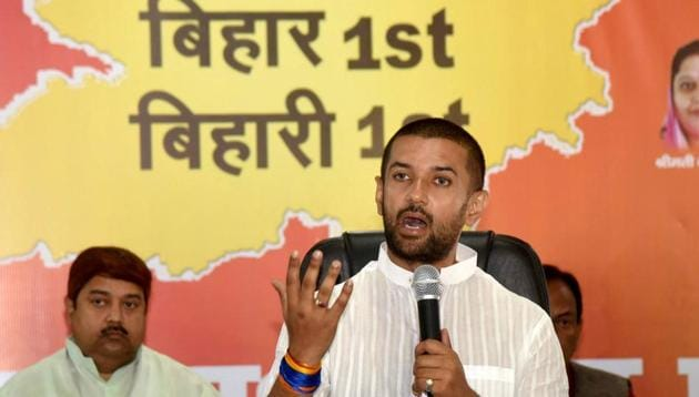 The LJP chief, under whose stewardship the party fought more than half of the seats in the 243-strong assembly but won only one, tried to perk up his supporters and asked them to focus on the bright side(PTI)