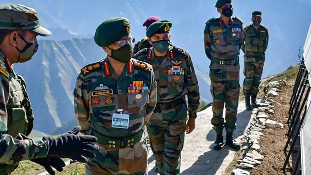 In this file photo from September, General MM Naravane, Chief of Army Staff (COAS) undertaking a firsthand assessment of the situation along the Line of Control.(PTI)