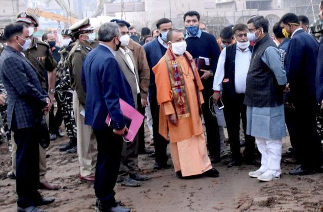 Uttar Pradesh chief minister Yogi Adityanath reviews preparations for Dev Deepawali celebrations on Friday, ahead of the two-day visit of Prime Minister Narendra Modi.(PTI)