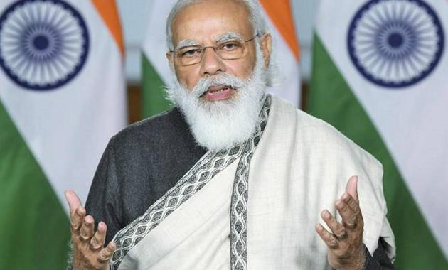 Prime Minister Narendra Modi addresses the concluding session of the 80th All India Presiding Officers' Conference at Kevadia, through video conferencing, in New Delhi on November 26.(PTI)