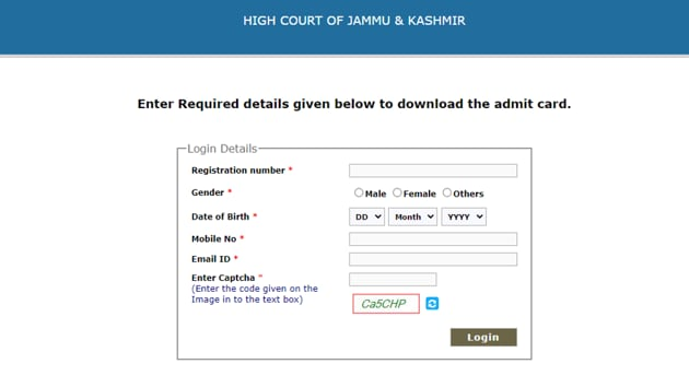 J-K High Court admit card 2020.(Screengrab)