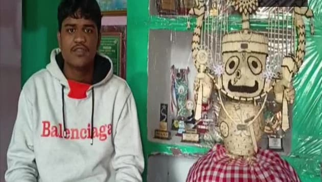 Saswat Ranjan Sahoo, an artist in Odisha's Puri, has created an idol of Lord Jagannath using 3,635 matchsticks to pray for the well-being of people and eradication of the pandemic.(ANI)