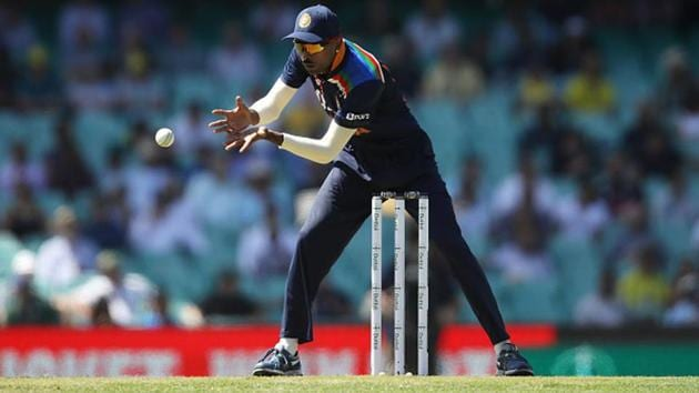 Hardik Pandya collects the ball.(Getty Images)