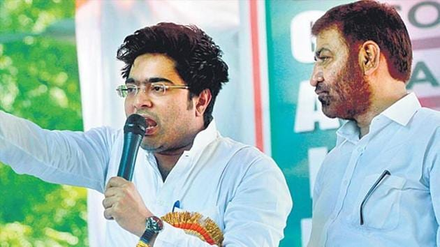 Trinamool Congress MP Abhishek Banerjee launched a scathing attack on rebel leader Suvendu Adhikari at a rally in Diamond Harbour.(HT FILE PHOTO)