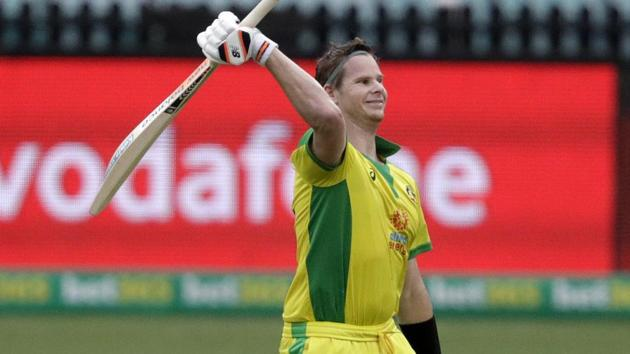 Steve Smith celebrates his century during the 2nd ODI against India(AP)