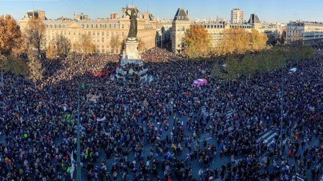 An aerial view of demonstrators gathered at the Place de la Republique square in Paris on November 28. Some 46,000 people marched in Paris and 133,000 in total nationwide, the interior ministry said. Protest organisers said some 500,000 joined nationwide, including 200,000 in the capital, AFP reported. (Thomas Coex / AFP)