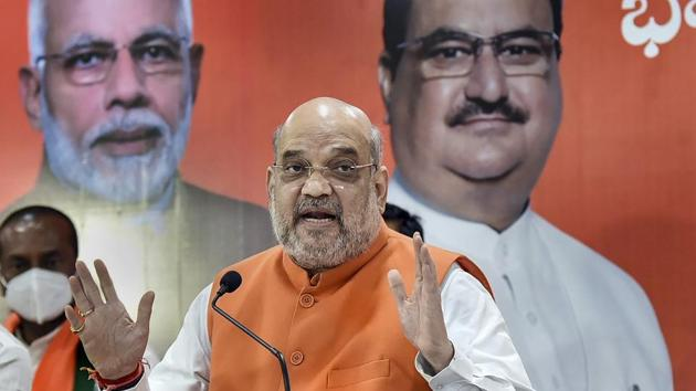 Union Home Minister Amit Shah addresses media, ahead of Greater Hyderabad Municipal Corporation (GHMC) elections, in Hyderabad.(PTI)