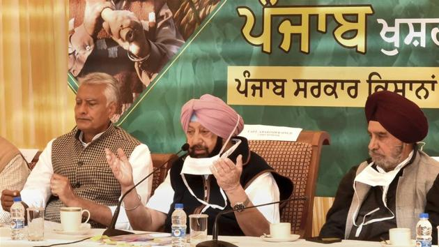 Punjab Chief Minister Captain Amarinder Singh during a meeting with representatives of various farmers' organizations on Saturday.(PTI)