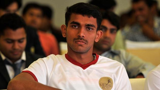 KT Irfan, Indian Olympian 20km walker during an award presentation ceremony to honour players who bagged the 4th to 12th position in Olympic games and Paralympic athletes in International competitions at Major Dhyan Chand National stadium.(Hindustan Times)