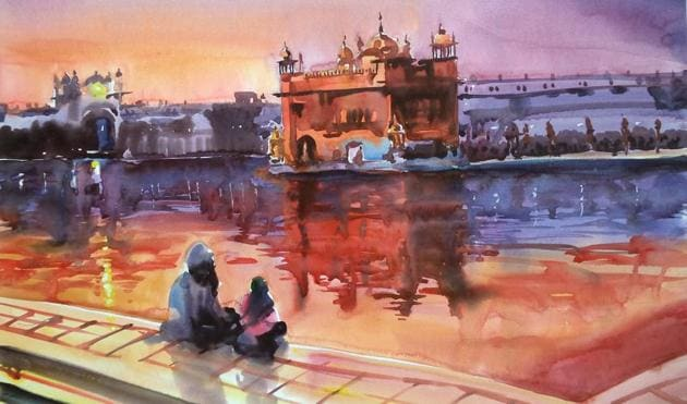 Shades of gold: A painting of the Golden Temple by Sanjeev Kumar Sinha