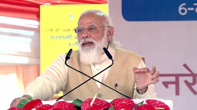 PM Modi was addressing his first public engagement in Khajuri where he dedicated to the nation the widened Handia (Prayagraj)-Rajatalab (Varanasi) section of National Highway 19.(Photo: BJP4India/ Twitter)