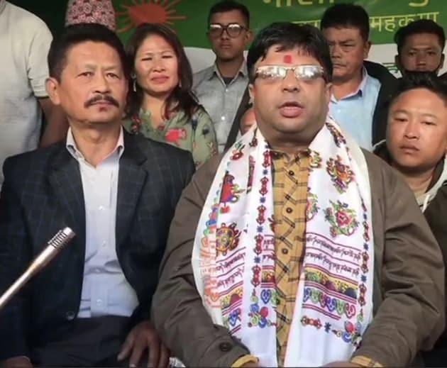 Senior leader of Gorkha Janmukti Morcha's Bimal Gurung faction Roshan Giri on Sunday said they are not giving up their demand for Gorkhaland(ANI on Twitter)
