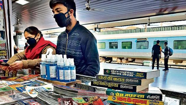 Customers at a book shop on Platform 1 of the New Delhi Railway Station.