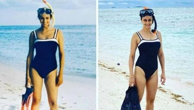 Gul Panag poses in the same swimsuit, 20 years apart.