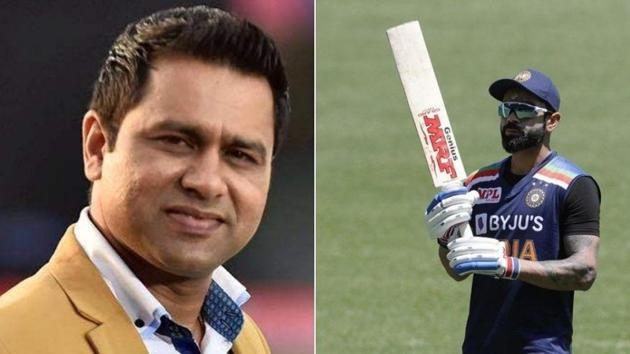 Photo of Aakash Chopra (L) and Indian captain Virat Kohli (R)(Twitter)