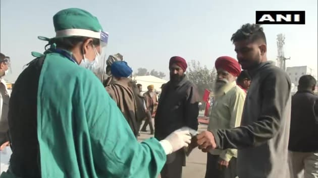 The doctors said that farmers are being made aware of the safety guidelines as the majority of them are not ensuring social distancing and moving without masks.(ANI Photo)