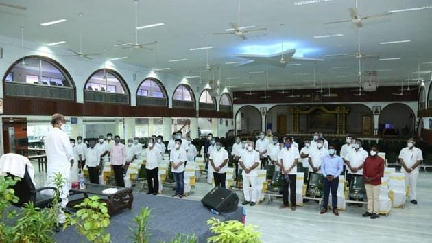 Rajinikanth addressing office bearers of Rajini Makkal Mandram on Monday.(HT Photo)
