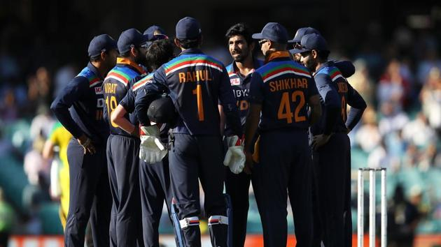 Indian players in a huddle during second ODI against Australia in Sydney.(Getty Images)