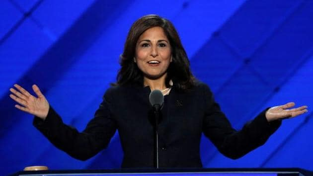Neera Tanden speaks at the Democratic National Convention in Philadelphia, Pennsylvania.(REUTERS/ FILE)