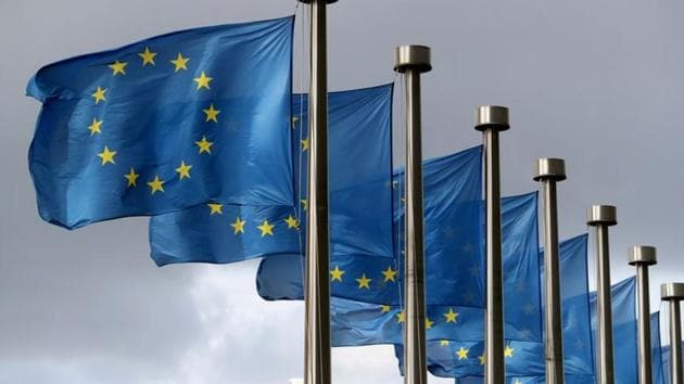European Union flags flutter in front of the European Commission headquarters in Brussels, Belgium.(Reuters/ File photo)