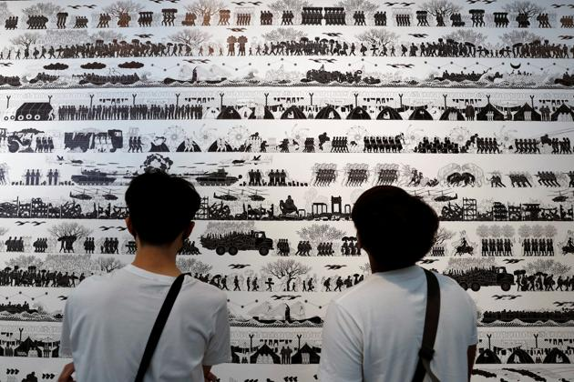 The exhibition 'Law of the Journey' is an epic, multi-layered statement about the human condition and its reflects the artist's. Ai Weiwei's, empathy and concern for the millions of people who face continuous destructions and horrors. (REUTERS/Jorge Silva)