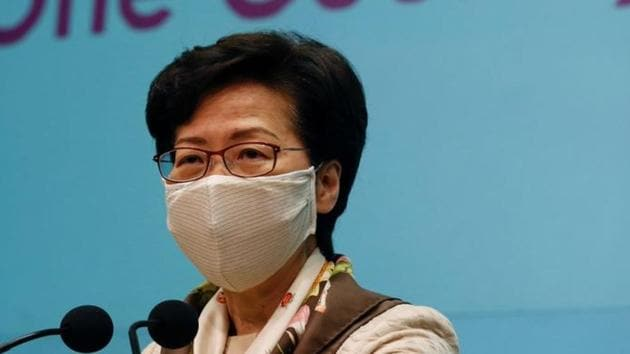 Hong Kong Chief Executive Carrie Lam, wearing a mask due to the ongoing global outbreak of the coronavirus in Hong Kong, China on June 2, 2020.(Reuters File Photo)