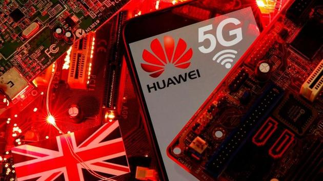 The UK flag and a smartphone with a Huawei and 5G network logo are seen on a PC motherboard in this illustration.(REUTERS/ FILE)