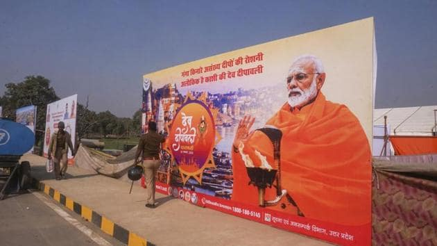 Security personnel take stock of the venue ahead of Prime Minister Narendra Modi's visit on the occasion of Dev Deepawali, in Varanasi on Sunday.(PTI File Photo)