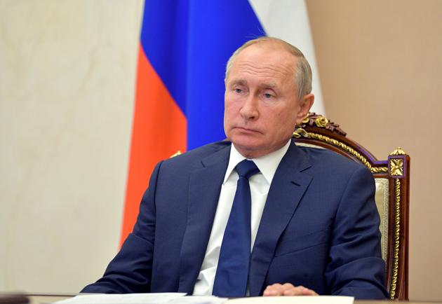Russian President Vladimir Putin during his meeting with Alexei Tsydenov, the governor of Buryatia, via video conference at the Novo-Ogaryovo residence outside Moscow, Russia.(AP)